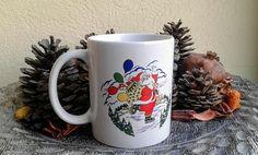 Christmas Ceramic Mug Santa Claus (stoneware, tea mugs, coffee mugs, pottery, noel, holidays, santa claus, gift, tree)