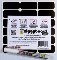 Ziggyboard Chalkboard Party Labels with Fine Tip White Chalk Marker 54 Small Rectangle Shape Stickers for Home, Kitchen, Wedding or Events by ImageAbility, http://www.amazon.com/dp/B00DNAEUM8/ref=cm_sw_r_pi_dp_X4zhsb0N59M1C