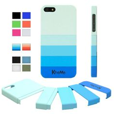 """KHOMO ® Blue Gradient Slider """"Dock Friendly"""" Case with Rubberized texture for Apple iPhone 5 / 5s"""