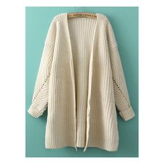 Beige Batwing Long Sleeve Loose Knit Cardigan (2.150 RUB) ❤ liked on Polyvore featuring tops, cardigans, long sleeve knit tops, batwing top, long cardigan, loose tops and brown cardigan