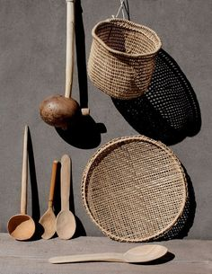Handmade wooden spoons and baskets