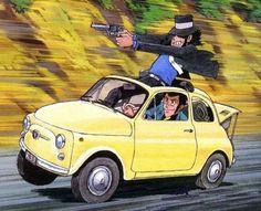 Lupin The driving a Fiat 500 with Jigen Fiat 500, Lupin The Third, Studio Ghibli Art, Ghibli Movies, Funky Art, Animation, Car Drawings, Hayao Miyazaki, Anime Figures