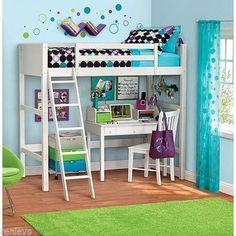 White Twin Loft Bunk Bed Wood Furniture With Ladder Mattress Bedroom Kids Sturdy