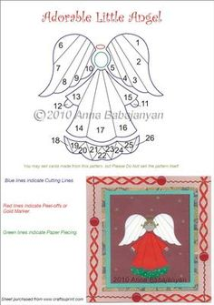 Adorable Little Angel Iris Folding Pattern- Craftsuprint designed by Anna Babajanyan - This little angel is so adorable and so easy to make!No complicated folds, no complicated cutting! :-)Great for many different occasions! - Now available for download!