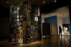 """Speaker boxes stacked in sculpture at Seattle Art Museum 