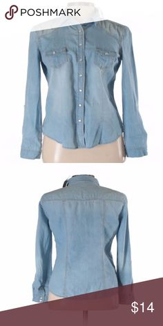 """Ladies Denim Shirt Blue Asphalt Long Sleeve Button-Down Shirt Size   Long sleeve Blue Chambray fabric  Measurements 28"""" Chest, 25"""" Length  Materials 100% Cotton butt  Condition This item is brand new with tags Blue Asphalt Tops Button Down Shirts"""