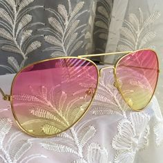 "Pink & Yellow Ombre Aviators Pink & yellow transparent ombre lenses. Gold frames . Black arm/ear guards. Approximately 5.75"" across frame front, 2 x 2.75"" each lens frame. Fit not guaranteed. Images 2, 3, 4 show example of actual stocked glasses. Brand new retail w/o tag. Lens cloth included. No case. No trades, no holding, no offsite payment.     ❗️PRICE IS FIRM UNLESS BUNDLED❗️                  Bundle and save  Accessories Glasses"