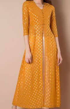 Buy women Foil Print Maxi Tunic - Mustard online in India. Shop latest collection of High Slit Tunics for women with COD and easy return at Indya. Pakistani Dresses, Indian Dresses, Indian Outfits, Kurta Patterns, Dress Patterns, Salwar Designs, Blouse Designs, Latest Kurti Designs, Indian Attire