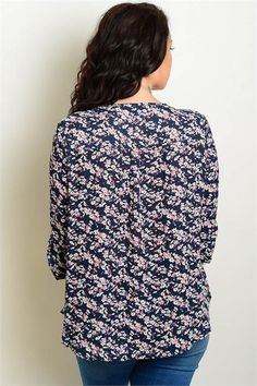 988f4c5dc87ce Navy Floral 3 4 Sleeve Plus Size Top. Zelle Boutique