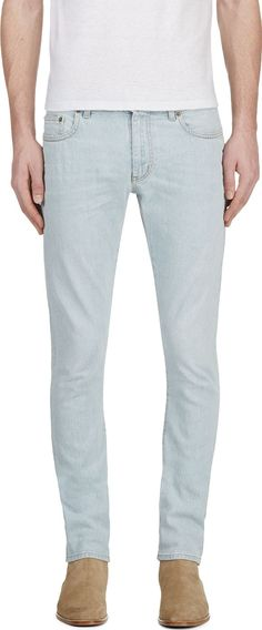 Saint Laurent - Blue Light Wash Skinny Jeans