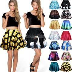 New Retro High Waist Pleated Skirts Short Mini Skirt Skater Flared Dress N4U8