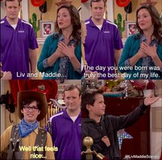 """Liv and Maddie, Season 1 Episode """"Sweet with Mrs Rooney, Parker and Joey Funny Disney Memes, Disney Jokes, Funny Relatable Memes, Liv Rooney, Old Disney Channel, Disney Shows, Tv Show Quotes, Girl Meets World, Great Tv Shows"""