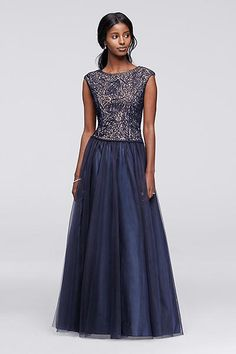Tulle Ball Gown with Embroidered Bodice 57632D