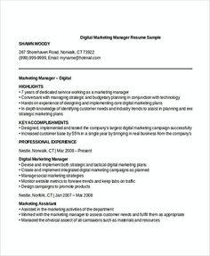 digital marketing specialist resume marketing resume samples for