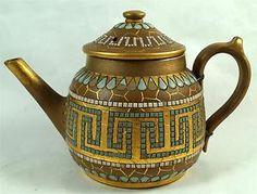 Royal Doulton Lambeth Silicon Mosaic Petite Teapot Tea Pot c1880s Eliza Simmance   eBay