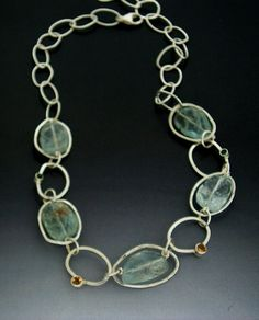 Aquamarine and Sterling Silver Link Chain by ZeniaLisJewelry