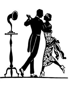 black vector silhouette of a couple dressed in 1920s fashion dancing rh pinterest com 1920s clipart borders 1940s clip art images