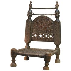 For Sale on - A century traditional tribal chair of the swat valley, Northern Pakistan. A chair with low seat, height measures 6 in the typical style Art Furniture, Antique Furniture, Low Chair, Throne Chair, Chip Carving, Room Doors, Mortise And Tenon, Swat, Pakistan