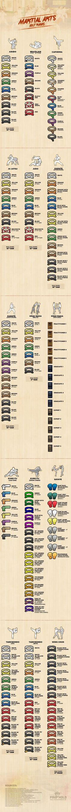 Martial Arts Belt Ranks, Found on http://www.mmaverse.com Pinned by http://kungfumovieshop.com Master Self-Defense to Protect Yourself