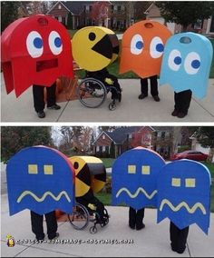 Wheelchair Pacman and Family of Ghosts Halloween Costumes