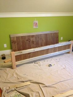 Headboard and footboard done. I chose to stain and paint doing 2 tone colors