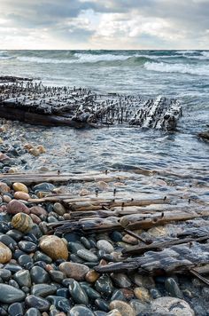 Shipwreck remains along the cold, rocky Lake Shoreline on a blustery day… Grand Marais Michigan, Shoreline Lake, Pictured Rocks National Lakeshore, Picture Rocks, Michigan Travel, Upper Peninsula, Lake Superior, Great Lakes, Nature Photos