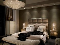 Luxurious modern master bedroom with awesome headboard and ...