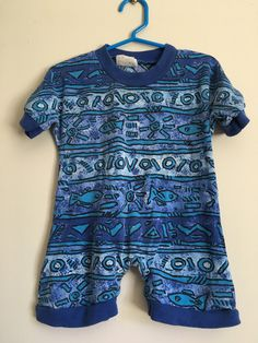 d8125b1f9 Sears Baby 90's infant boys rad graphic one piece playsuit - Size 18 m -  summer shorts beach romper - surf - neon blue graphic - nineties