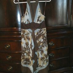 BCBG Silk Scarf Dress - 2 Beautiful BCBG scarf dress with halter neck and crochet detailing under the bust. Never worn! BCBG Dresses