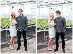 Provo Utah engagement session in a greenhouse. Utah greenhouse engagement session. | Provo Utah wedding photographer. Whitney Hunt Photography
