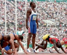 Linford Christie gets ready