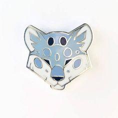 Angular Snow Leopard Head Silver Metal Hard Enamel Pin by ShinePaw on Etsy