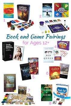 Looking for the perfect christmas gift? This list of over 30 game and book pairings is perfect for everyone on your list. There are games for toddlers, games for preschool and elementary aged kids. But the list also includes books and games for middle grades and adults too. Whether you are looking to give a game for babies first christmas or just trying to find a present for a hard to please member of the family, There is something for everyone on the list!