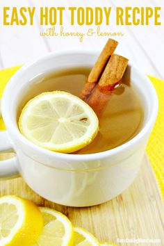 This Easy Hot Toddy Recipe makes a comforting hot beverage with only 4 ingredients: hot water honey lemon and whiskey (or bourbon). Perfect on a cold night and especially good when you arent feeling well. Red Skin Potatoes Recipe, Roasted Red Skin Potatoes, Hot Toddy Recipe For Colds, Whisky, Bourbon, Jello Shot Recipes, Drink Recipes, Jello Shots, Recipes