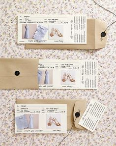 How not to be a bridezilla? Pick something your bridesmaids really can wear again, then list the details on a handy card.  Download our template, type in contact info, and print onto card stock. Write in other details, and add fabric swatches and images. Use a rotary cutter with a perforating blade to create a tear-off card that can be tucked into a wallet for easy reference.
