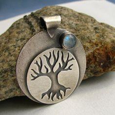 Talisman Tree Of Life Necklace Pendant OOAK Art Jewelry - Sterling Silver Rainbow Moonstone Necklace -. $248.00, via Etsy.