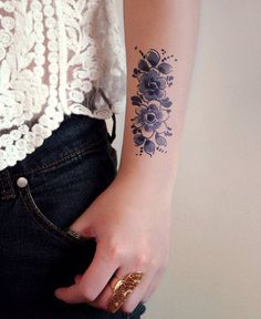 Pretty Flower Temporary Tattoo Designs For Girls