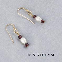 Garnet and Pearl Earrings  SER7