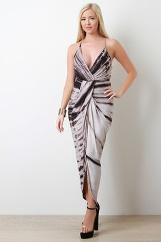Jersey Knit Tie Dye Draped Tulip Maxi Dress | UrbanOG