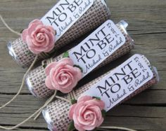 "Mint wedding favors - Set of 24 mint rolls - ""Mint to be"" favors with…"