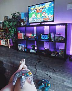 Nintendo 64, N64, Bedroom Setup, Bedroom Small, Gaming Desk Setup, Video Game Rooms, Geek Decor, Game Room Design, Retro Gamer