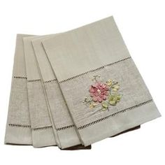 Handmade Ribbon Embroidery Flower with Hemstitch Tea Towel $35.16 by Wayfair
