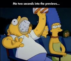 eating popcorn during a preview
