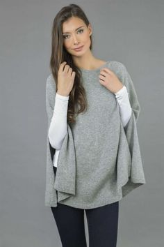 Italy In Cashmere Pure Cashmere Plain Knitted Poncho Cape in Light Grey - Ponchos Cashmere Poncho, Knitted Poncho, Cashmere Wool, Grey Poncho, Slouchy Beanie, One Size Fits All, Cape, Bell Sleeve Top, Classy