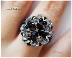 Beaded Ring PDF Pattern Elegant Black Ring RG070 Beading