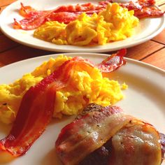 Tropical bacon wrapped steak and eggs.
