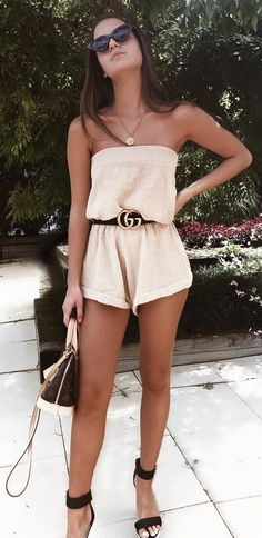 gorgeous summer outfit / bag sandals off shoulder romper