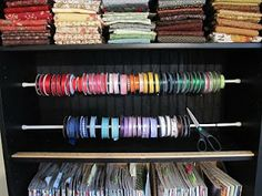 Sew Many Ways...: Ribbon Organizing Again...Tension Rods This would also work stabilizers & other rolled products.