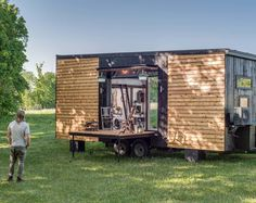 Looking for design inspiration for a tiny house on wheels? Here's a list of the most impressive tiny houses on wheels to fuel your wanderlust. Jacuzzi, Glass Garage Door, Sliding Glass Door, Alpha Tiny House, Nashville, Tiny House France, Walnut Hardwood Flooring, Farmhouse Apron Sink, Shiplap Wood