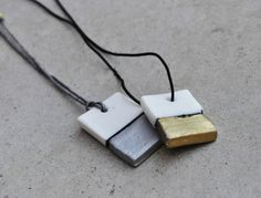 Silver and White Porcelain Pendants by CeramicJewelryGreece